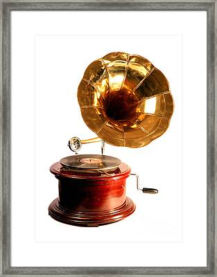 Isolated Antique Gramophone Framed Print