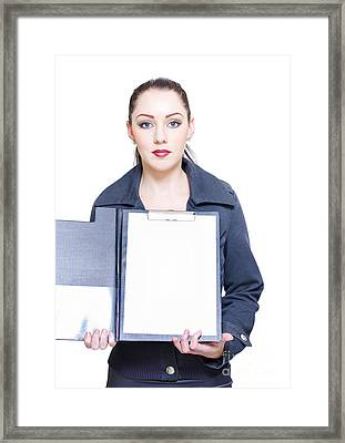 Isolated Business Woman Opening Clipboard Survey Framed Print by Jorgo Photography - Wall Art Gallery