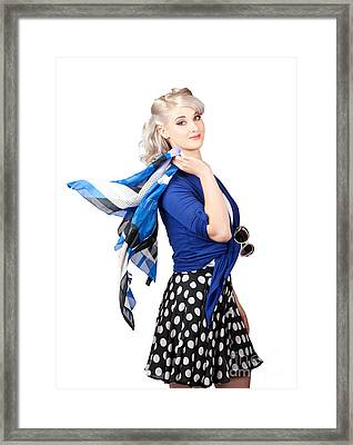 Isolated Caucasian Woman With Pinup Fashion Style Framed Print by Jorgo Photography - Wall Art Gallery