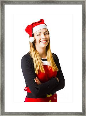 Isolated Christmas Girl Smiling In Cooking Apron Framed Print by Jorgo Photography - Wall Art Gallery