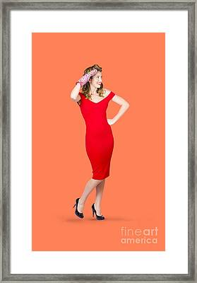 Isolated Female Pin Up Cook On Stove Watch Framed Print by Jorgo Photography - Wall Art Gallery