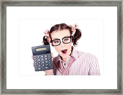 Isolated Finance Business Woman Holding Calculator Framed Print