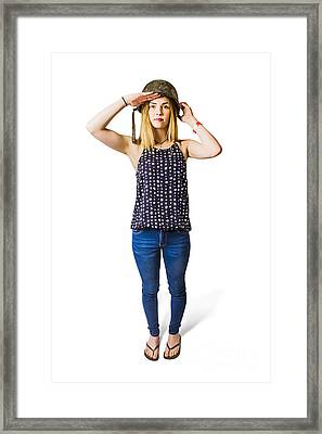 Isolated Girl At Remembrance Service On Anzac Day Framed Print by Jorgo Photography - Wall Art Gallery