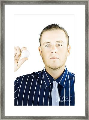 Isolated Golf Player Holding Ball On White Framed Print by Jorgo Photography - Wall Art Gallery
