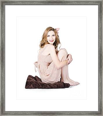 Isolated Pinup Girl Sitting On Soft Blanket Framed Print by Jorgo Photography - Wall Art Gallery