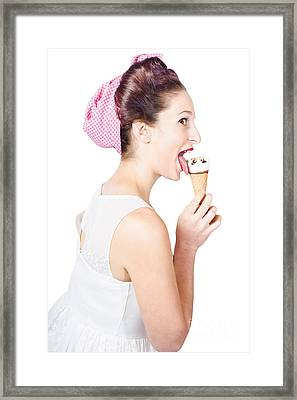 Isolated Pinup Girl With Ice Cream In Studio  Framed Print by Jorgo Photography - Wall Art Gallery