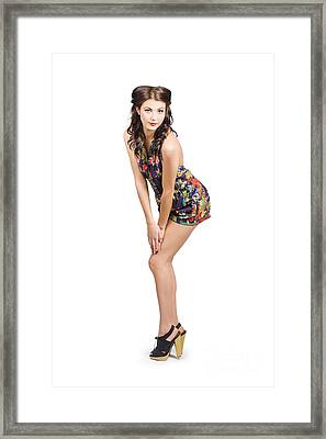 Isolated Portrait Of A Lovely Retro Pin Up Woman  Framed Print