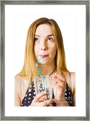 Isolated Portrait Of A Young Milkshake Woman Framed Print by Jorgo Photography - Wall Art Gallery