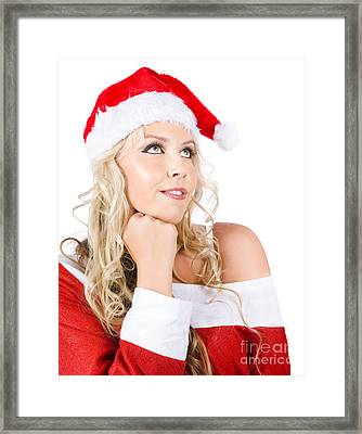 Isolated Santa Woman Thinking Up Blank Copyspace Framed Print by Jorgo Photography - Wall Art Gallery