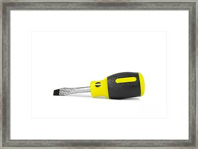 Isolated Screw Driver Over White Framed Print