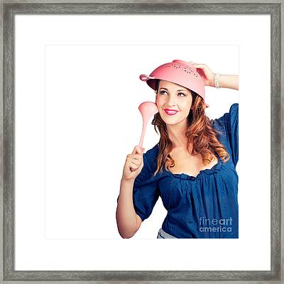 Isolated Woman Straining For Creative Cooking Idea Framed Print by Jorgo Photography - Wall Art Gallery