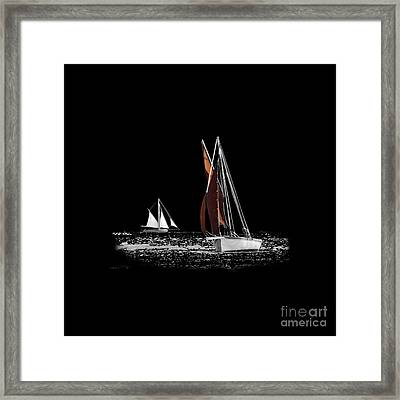Isolated Yacht Carrick Roads On A Transparent Background Framed Print