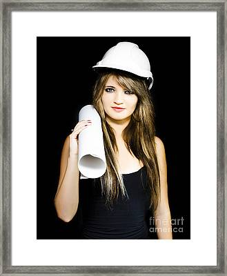 Isolated Young Female Structural Engineer Framed Print