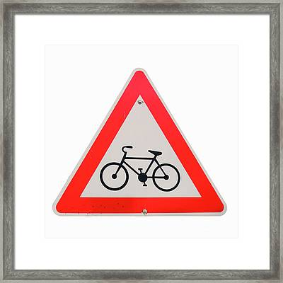 Israel, Bicycle Caution Sign Framed Print by Ilan Rosen