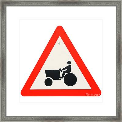 Israel, Tractor Caution Sign Framed Print by Humorous Quotes
