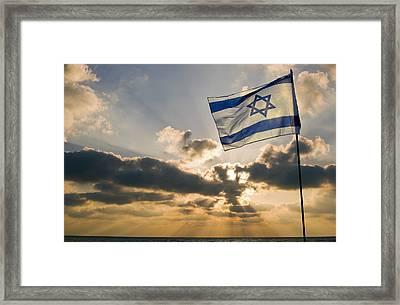 Israeli Flag And Sunset Framed Print by Daniel Blatt