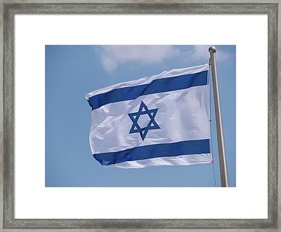Israeli Flag In The Wind Framed Print