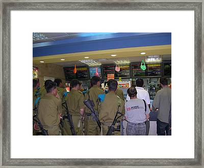 Israeli Soldiers Stop At A Kosher Mcdonald's Framed Print by Susan Heller