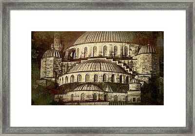 Istanbul Blue Mosque - Antiqued Print Framed Print by Stephen Stookey