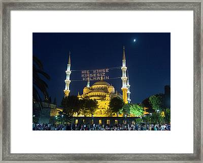 Istanbul Blue Mosque At Ramadan Framed Print by Stephen Stookey