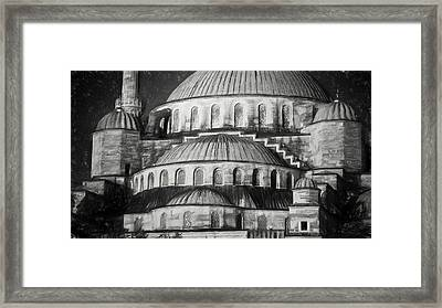 Istanbul Blue Mosque - Charcoal  Sketch Framed Print by Stephen Stookey