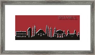 Istanbul Skyline Silhouette Pop Art Framed Print