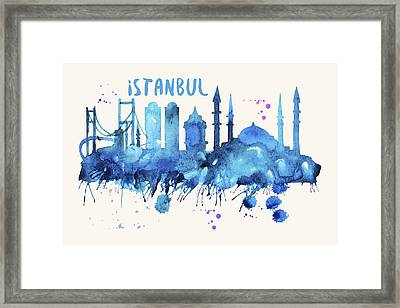 Istanbul Skyline Watercolor Poster - Cityscape Painting Artwork Framed Print