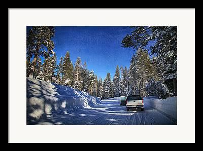 Snow-covered Landscape Digital Art Framed Prints