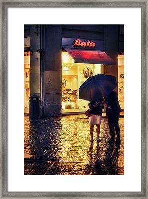 It Is Raining In Firenze Framed Print