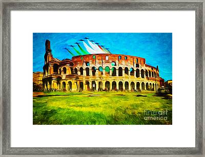 Italian Aerobatics Team Over The Colosseum Framed Print