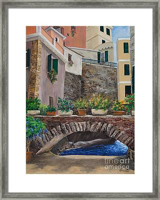 Italian Arched Bridge With Flower Pots Framed Print by Charlotte Blanchard