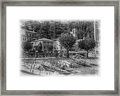 Italian Boat Dock B/w Framed Print