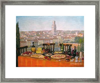 Italian Cityscape-verona Feast Framed Print