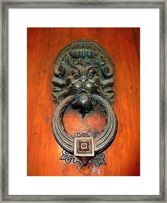 Italian Door Knocker Framed Print by Jen White