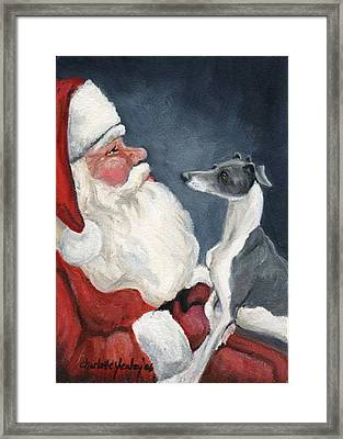 Italian Greyhound And Santa Framed Print by Charlotte Yealey