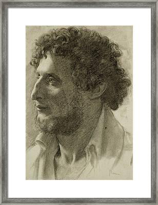 Italian Head Framed Print by Edgar Degas