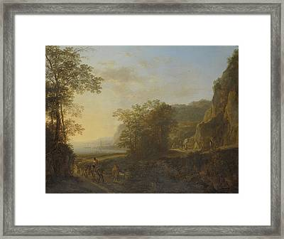 Italian Landscape With A View Of A Harbor Framed Print by Jan Both