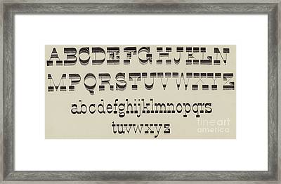 Italian, Large And Small Classic Font Framed Print by English School