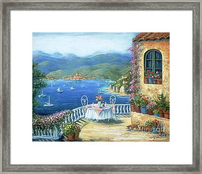 Italian Lunch On The Terrace Framed Print