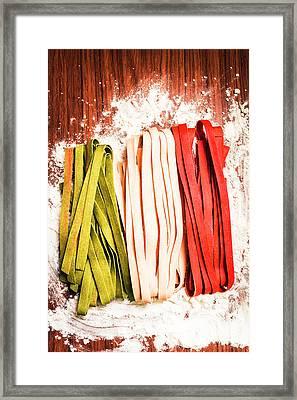 Italian Pasta In National Flag On Flour Framed Print