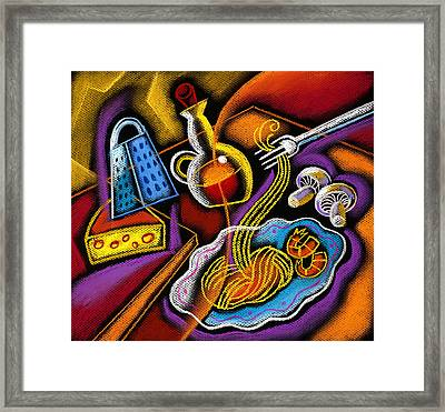 Italian Pasta Framed Print by Leon Zernitsky