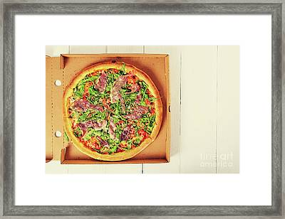 Italian Pizza With Green Fresh Rucola, Prosciutto Ham And Parmigiano Reggiano Framed Print