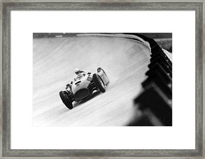 Italian Racing Driver Nino Farina Driving His Ferrari At Monza  Framed Print by Italian School