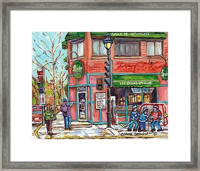 Italian Restaurant Linda Verdun Montreal Painting Winter City Scene Hockey Game Art Carole Spandau   Framed Print by Carole Spandau