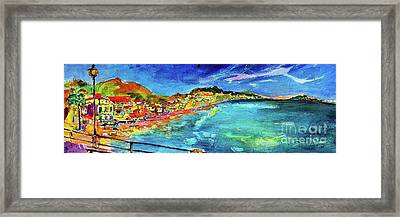 Framed Print featuring the painting Italian Riviera Coastline Ocean View by Ginette Callaway