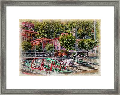 Italian Scenic Boat Dock Framed Print