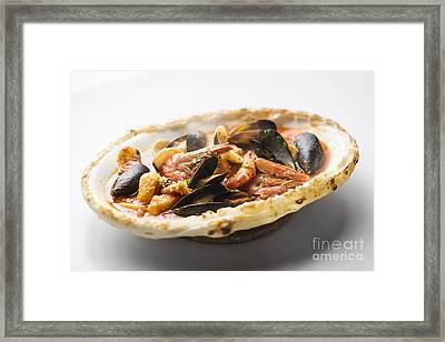 Italian Seafood Stew Baked In Bread Loaf Framed Print