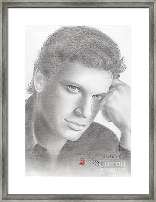 Framed Print featuring the drawing Italian Singer Patrizio Buanne by Eliza Lo