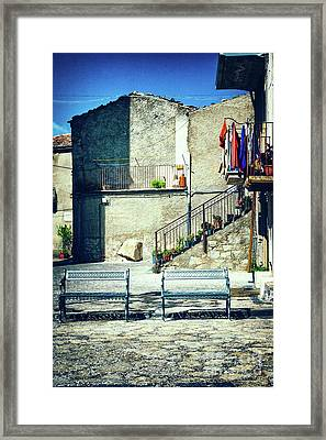 Framed Print featuring the photograph Italian Square With Benches by Silvia Ganora