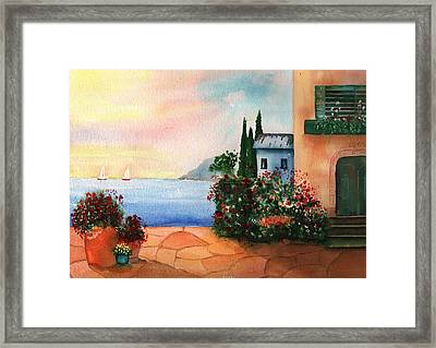Italian Sunset Villa By The Sea Framed Print